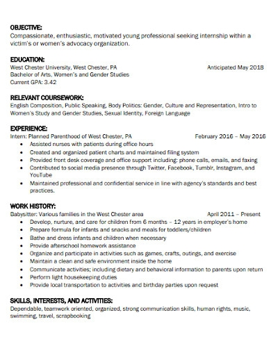 resume objective statement in formal