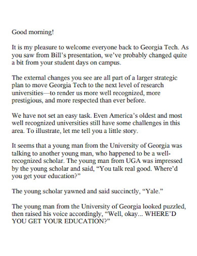 reunion welcome speech for students