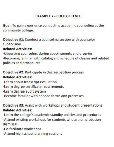 sample academic goals for college students