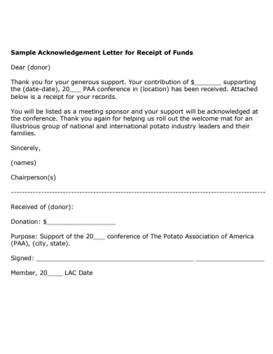 sample acknowledgement fund receipt letter