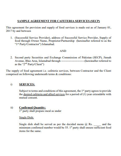 sample agreement for cafeteria services