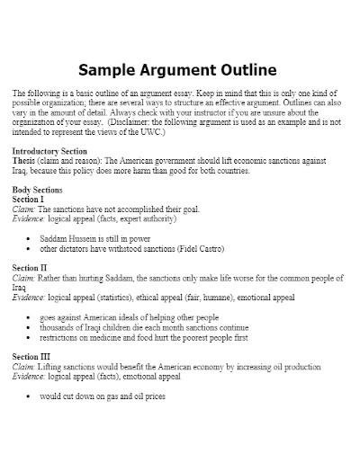 sample argumentative essay outline