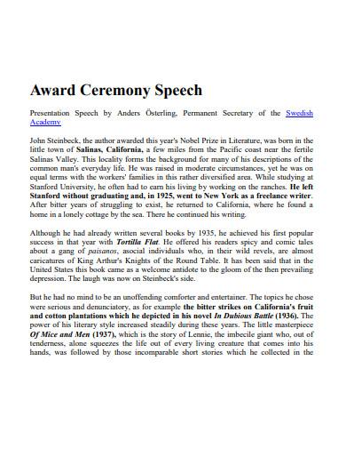 sample award ceremony speech