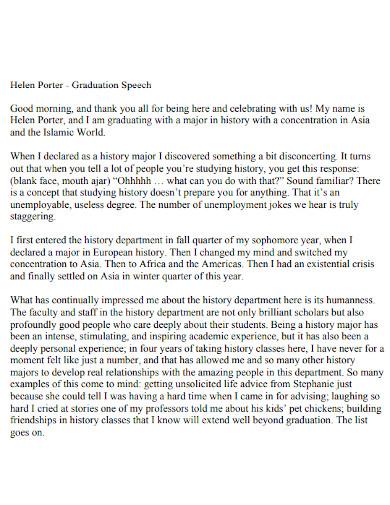 sample graduation thank you speech