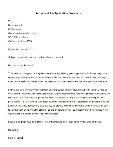 sample job application letter for accountant