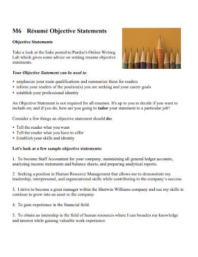 sample objective statement