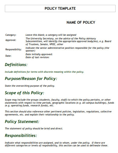 sample policy scope statement