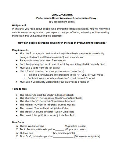 sample short informative essay