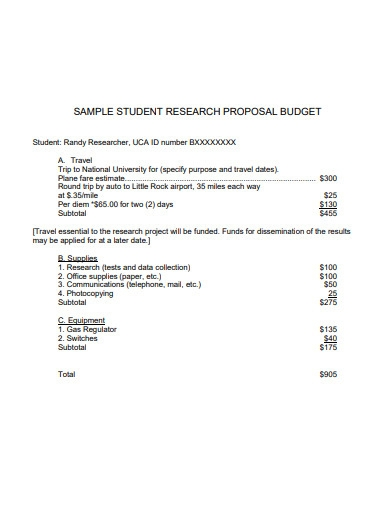 sample student research proposal budget