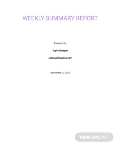 sample weekly summary report