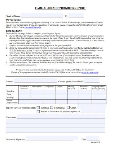 satisfactory academic progress report