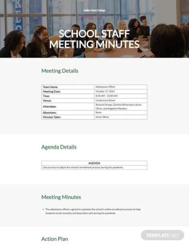 school staff meeting minutes template