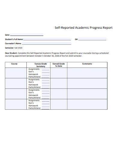 self reported academic progress report