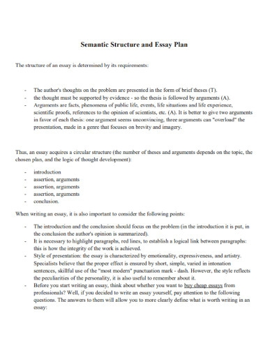 semantic structure essay plan