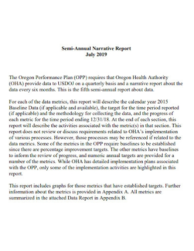 semi annual narrative report