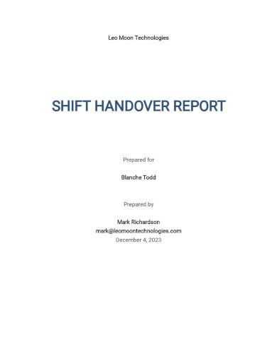 shift handover report template