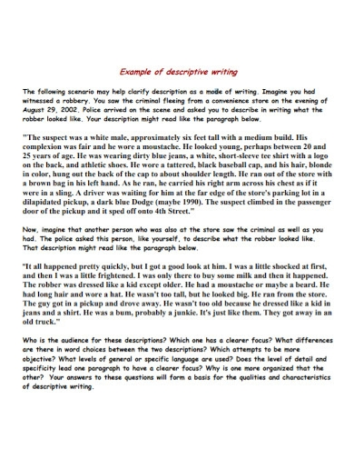 short descriptive essay in pdf