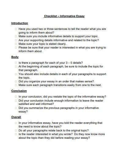 short informative essay checklist