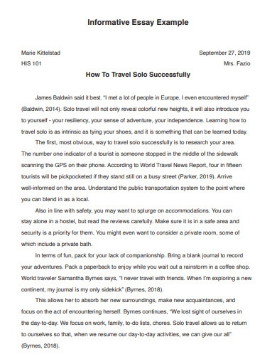 short informative essay example