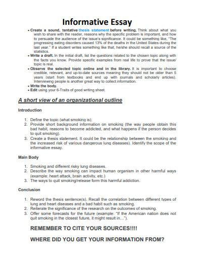 short informative essay template