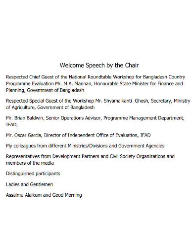 short welcome chief guest speech
