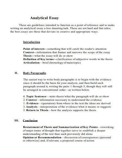 simple analytical essay outline