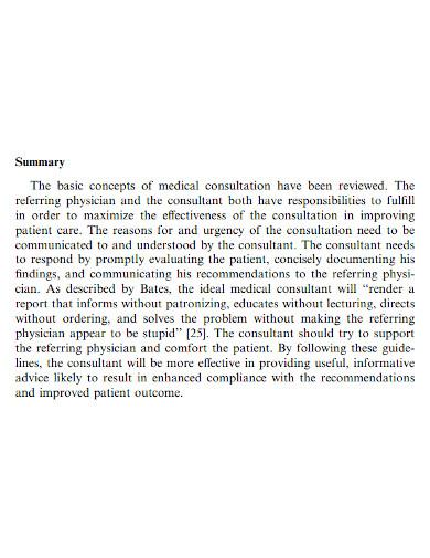 simple medical case summary