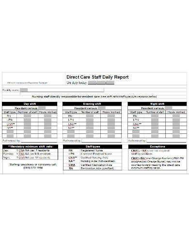 staff daily report
