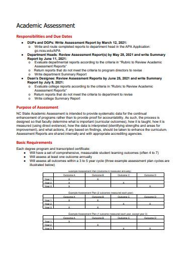 standard academic assessment