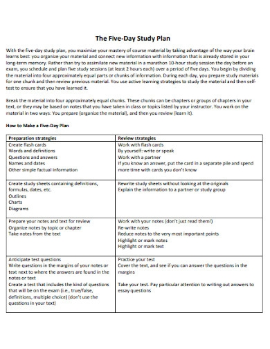 standard five day study plan