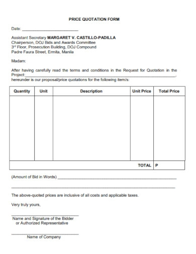 standard price quotation form