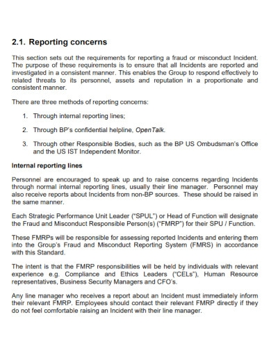 standard theft investigation report