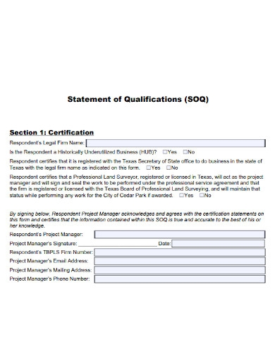statement of qualifications certification