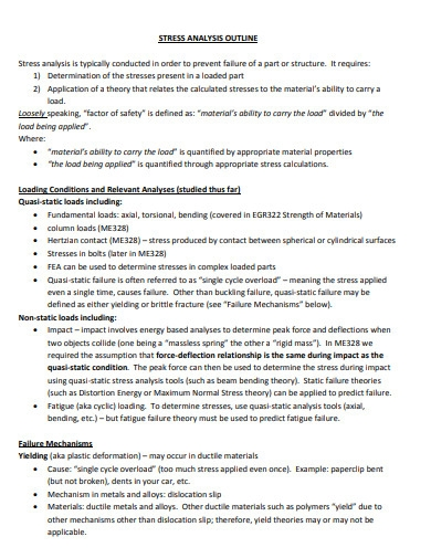 stress analysis paper outline