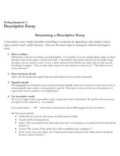 structured short descriptive essay