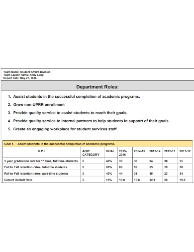 student affairs assessment report