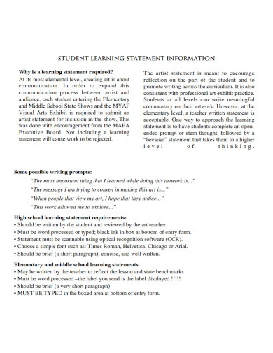 student artist learning statement