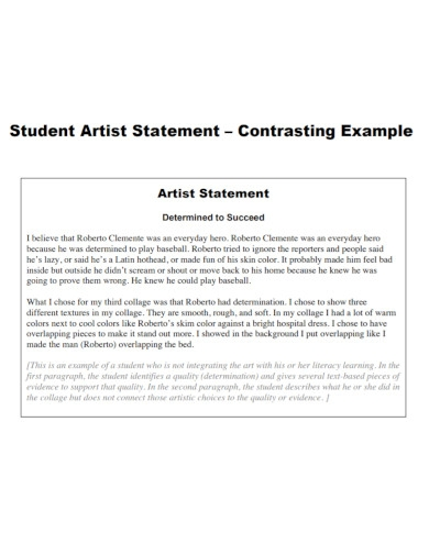 student artist statement example
