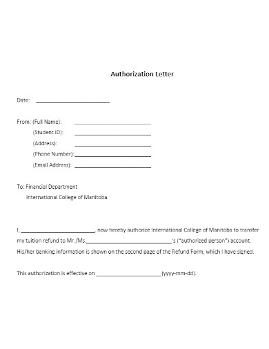 student authorization letter to clain money
