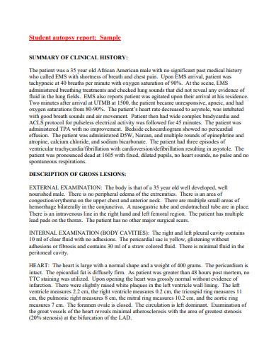 student autopsy report