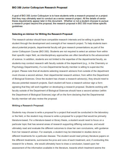 student junior research proposal