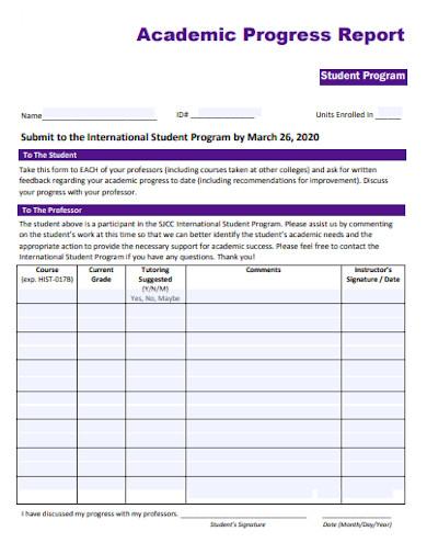 student program academic progress report