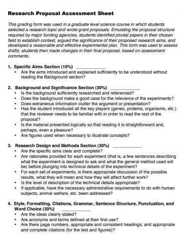 student research proposal assessment sheet