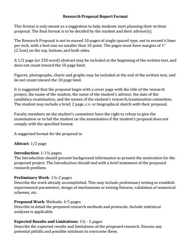 student research proposal report format