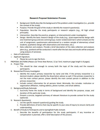 student research proposal submission process