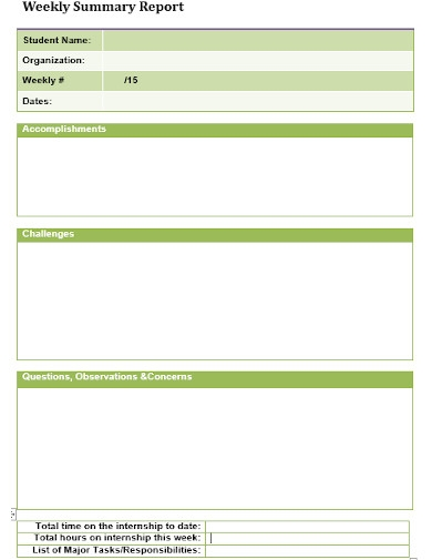 student weekly summary reports