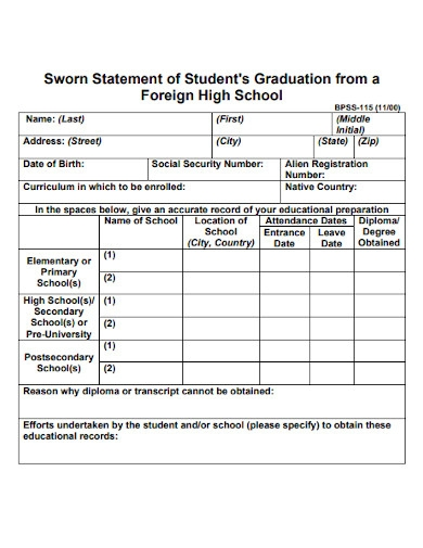 sworn statement of student graduation