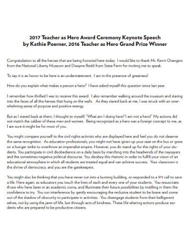 teacher award ceremony speech