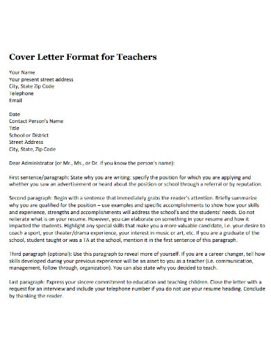 teacher cover letter outline