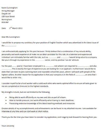 teacher job application letter